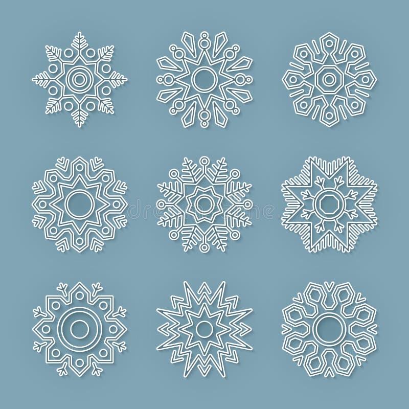 Christmas flat line vector snowflakes set royalty free stock photography