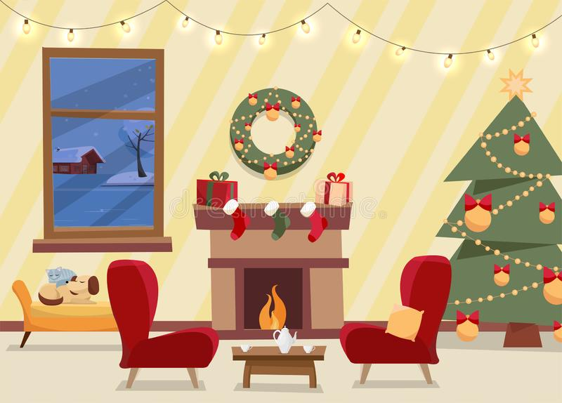 Christmas flat vector of decorated living room. Cozy home interior with furniture, armchairs, window to winter evening stock illustration