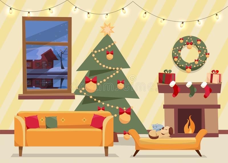 Christmas flat vector of decorated living room. Cozy home interior with furniture, sofa, window to winter evening landscape, stock illustration