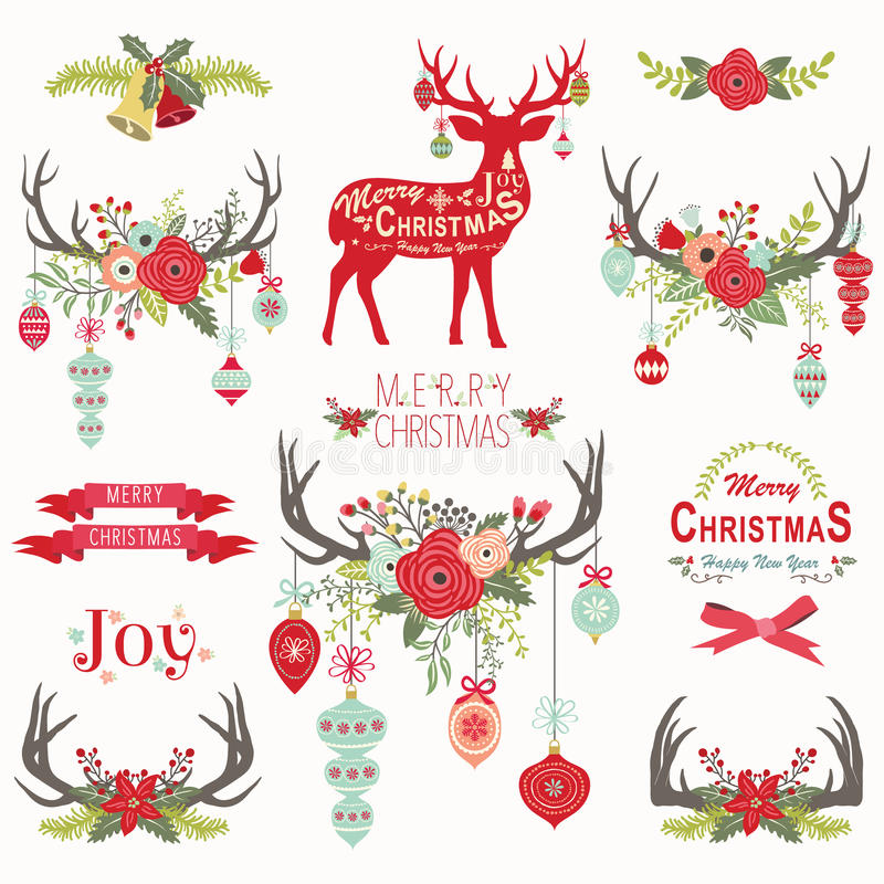 Christmas Floral Antlers Elements. A vector illustration of Christmas Floral Antlers Elements. Perfect for new year, christmas, greeting card and many more royalty free illustration