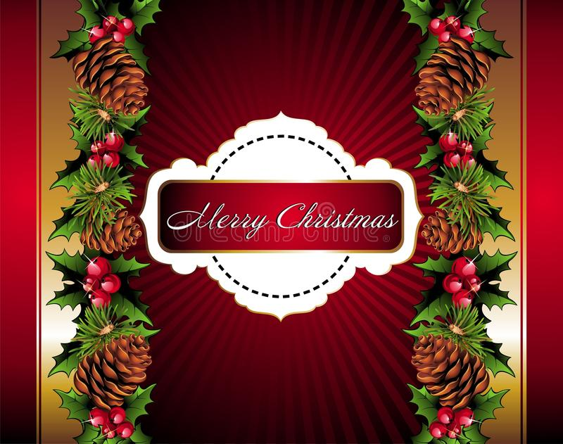 Christmas floral background with pinecone stock illustration