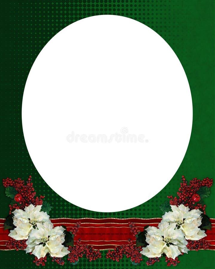 Christmas border poinsettias oval royalty free stock photos