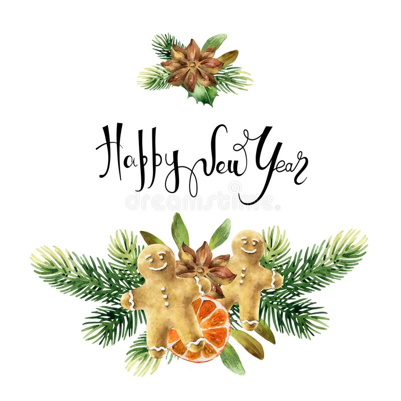 Christmas floral composition royalty free illustration
