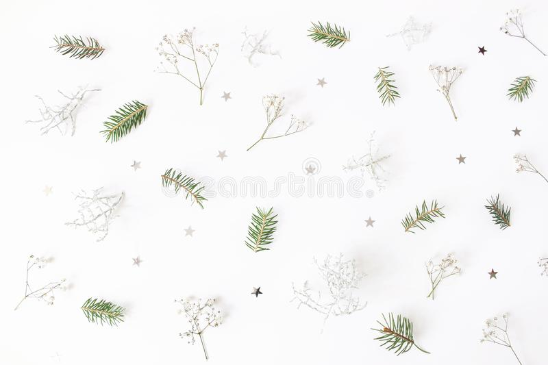 Christmas floral pattern. Winter composition of green spruce tree branches, baby`s breath flowers, Calocephalus brownii. And silver confetti stars on white royalty free stock images