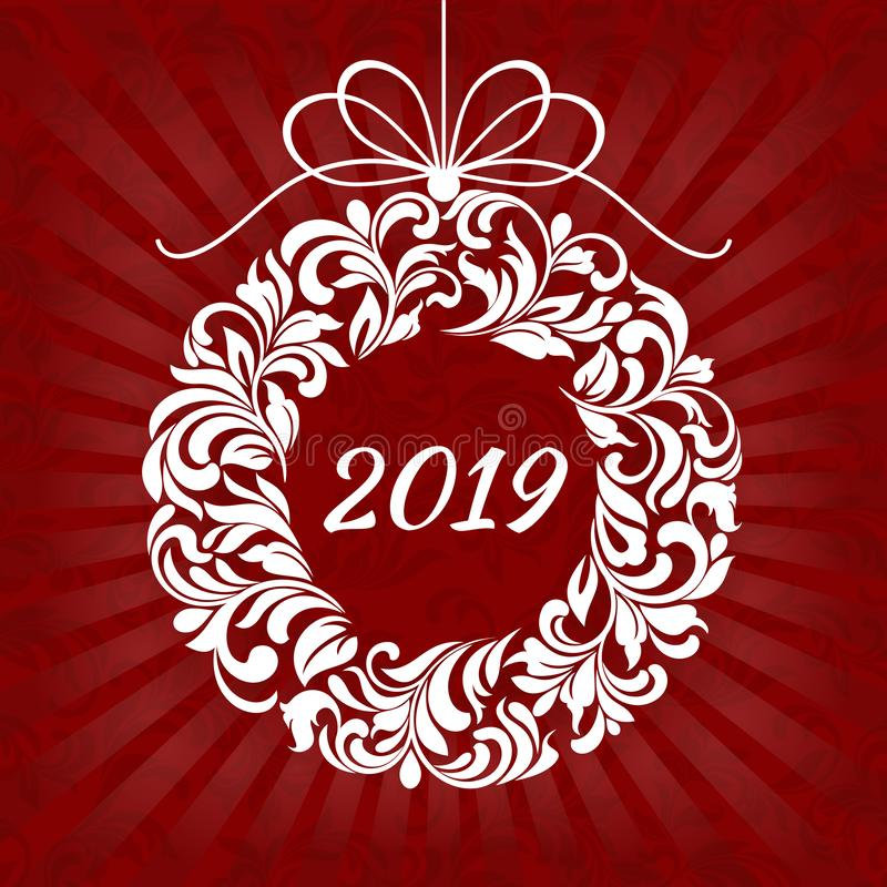 Christmas floral wreath with 2019 on a red background with rays. vector illustration
