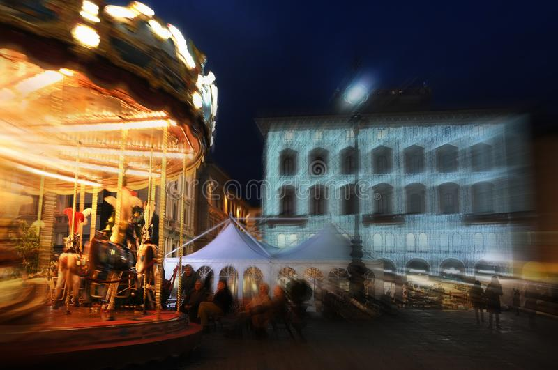 Christmas in Florence. Carousel in Piazza della Repubblica. Italy royalty free stock photo