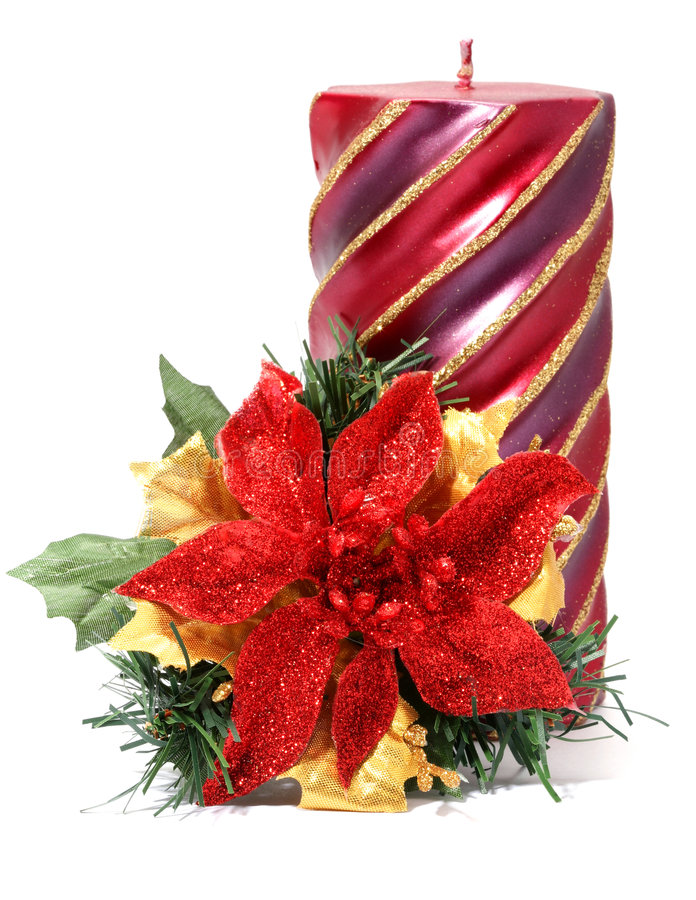 Free Christmas Flower With Candle Stock Image - 1553771