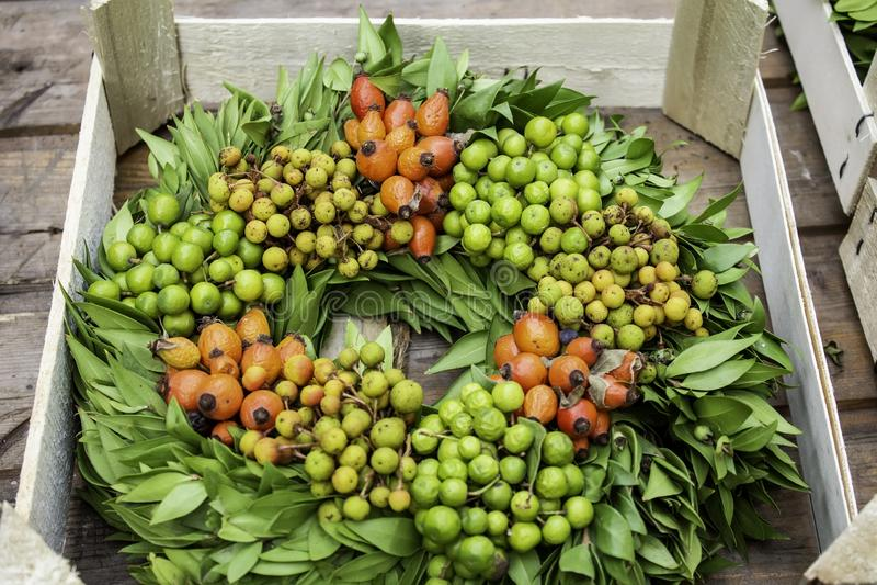 Christmas flowers wreath. Decoration with plants, nature, shape, cinnamon, season, classic, advent, round, celebration, symbol, winter, tradition, nobody royalty free stock photos