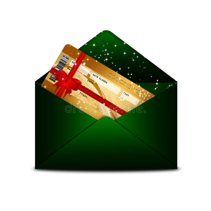 Christmas fly air ticket in green envelope isolated over white stock illustration