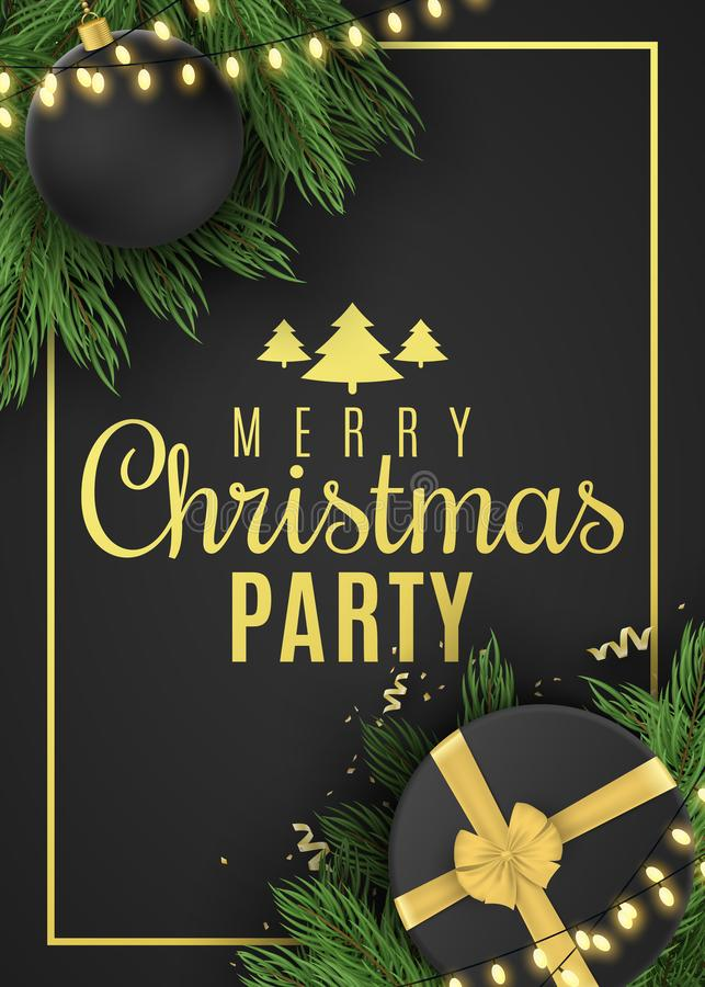 Christmas flyer for party. Black gift box with a gold ribbon and christmas ball. Confetti with serpentine. Glowing gold royalty free illustration