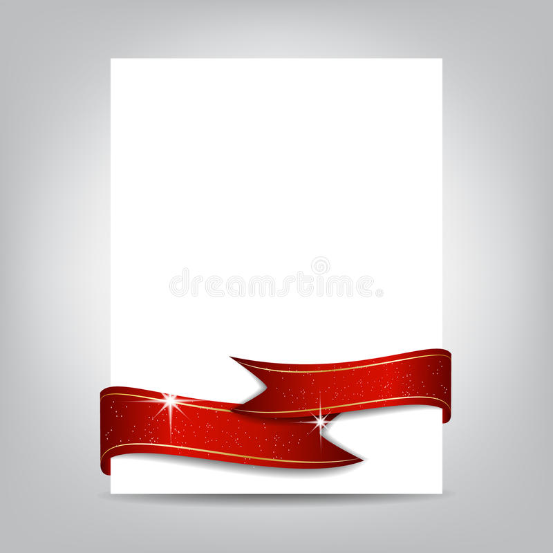 Christmas Flyer Template, Paper Banner With Red Ribbon Stock