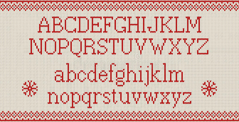 Christmas Font Knitted Latin Alphabet On Seamless Knitted Pattern