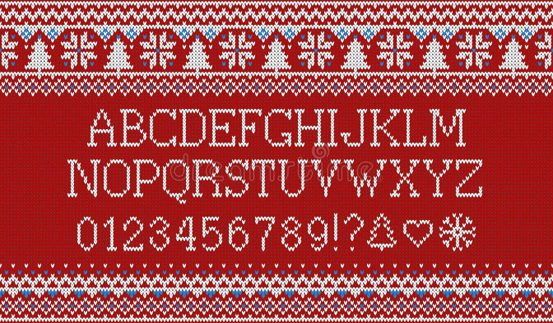 Christmas font. Knitted latin alphabet on seamless knitted pattern with snowflakes and fir. Nordic fair isle knitting stock illustration