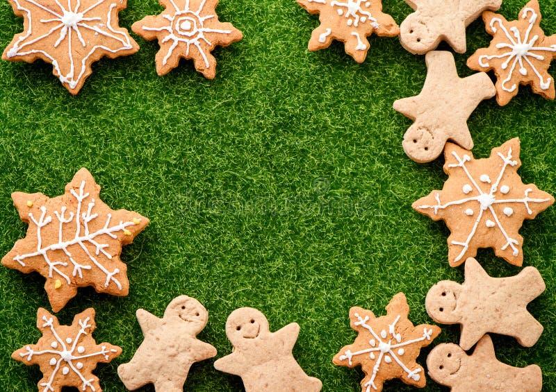 Christmas food. Gingerbread man cookies in Christmas setting. Xmas dessert royalty free stock image
