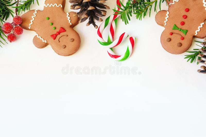 Christmas food. Gingerbread man cookies in Christmas setting. Xmas dessert. Christmas gingerbread man cookies - Christmas and New Year holiday background royalty free stock photography