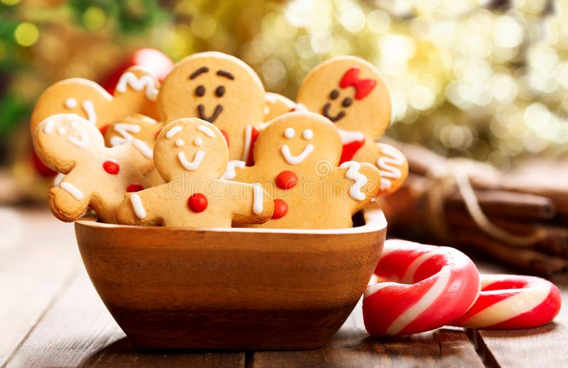 Christmas food.  Homemade gingerbread cookies in a bowl. On wooden table stock photography