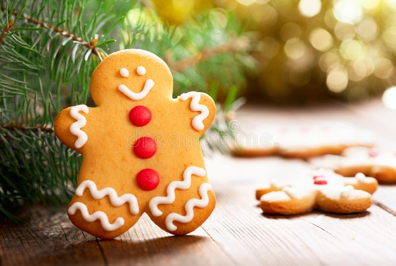 Christmas food.  Homemade gingerbread cookies. On wooden table royalty free stock image