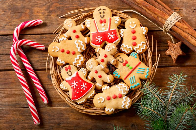 Christmas food.  Homemade gingerbread cookies, top view. Christmas food.  Homemade gingerbread cookies on wooden table, top view royalty free stock photos
