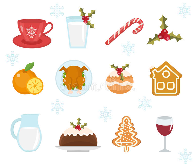 Christmas food icons set. Set of traditional christmas food and desserts food for Santa. Set of festive food and decorations for. Christmas table. Holiday royalty free illustration