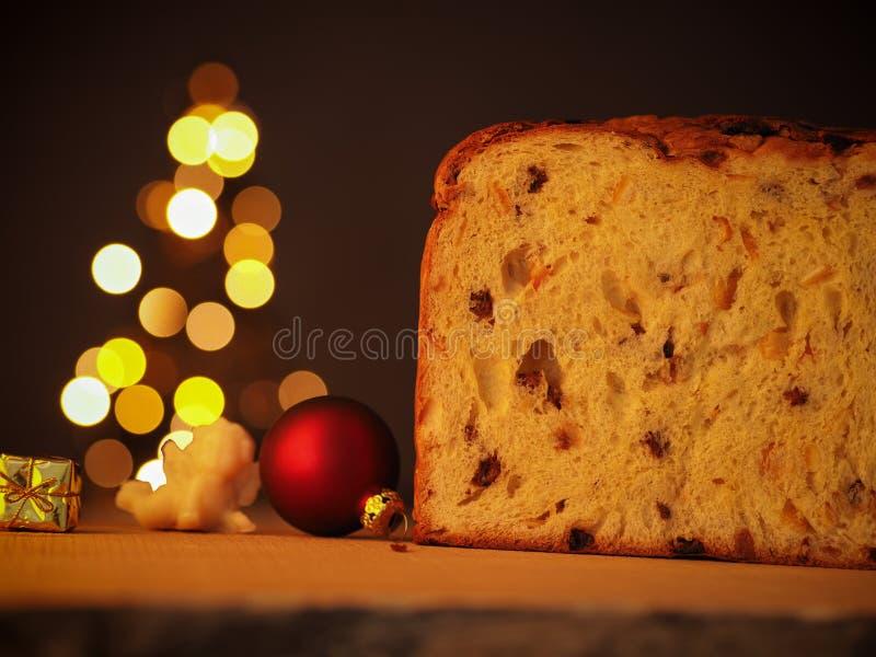 Christmas food, Panettone with tree shape royalty free stock photos