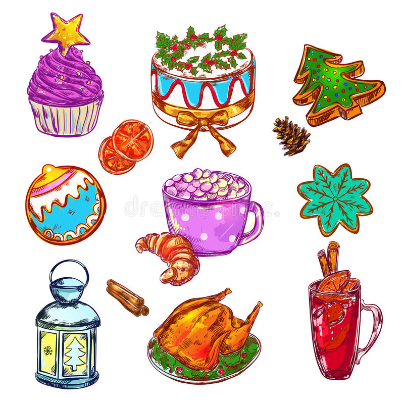 Christmas Food Sketch Set stock illustration