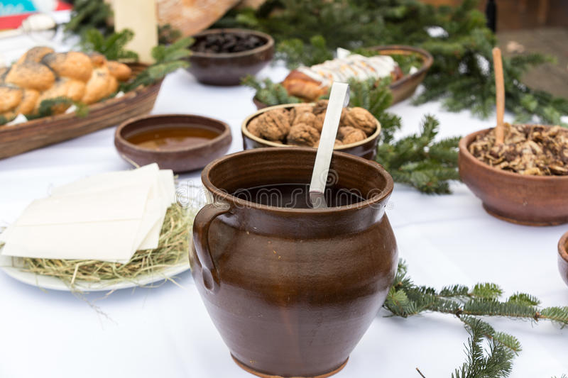 Christmas food on the table. Decorating with Christmas tree royalty free stock images