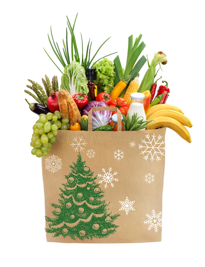 Christmas foods full package with snowflakes royalty free stock photos