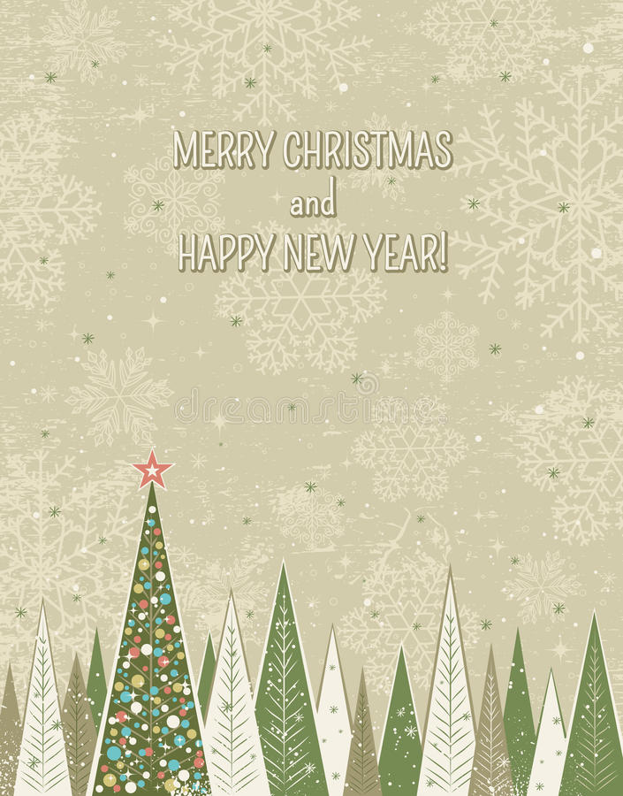 Christmas forest over grunge background, vector royalty free illustration
