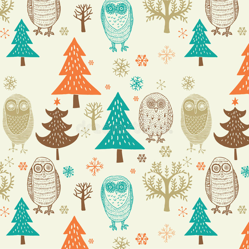 Christmas forest pattern royalty free illustration
