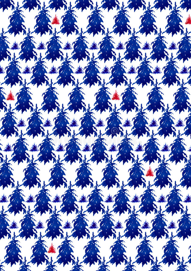 Christmas forest pattern. Watercolour royalty free illustration