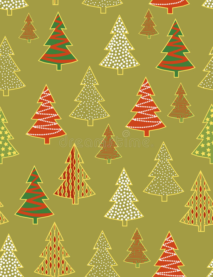 Christmas forest - seamless pattern vector illustration