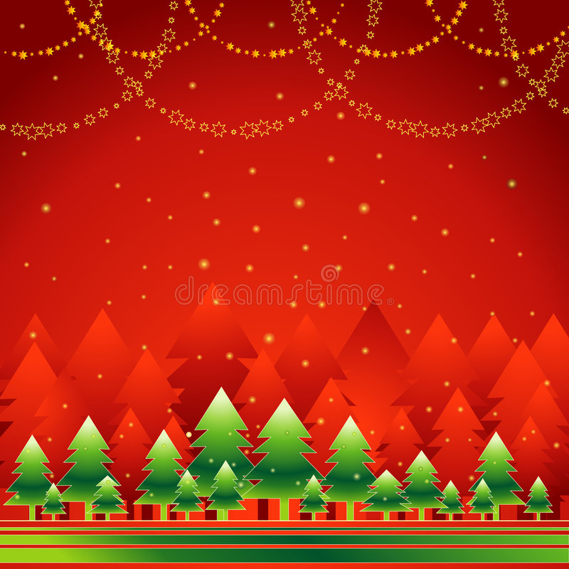 Christmas forest,vector royalty free illustration