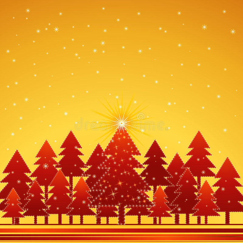 Christmas forest, vector royalty free illustration