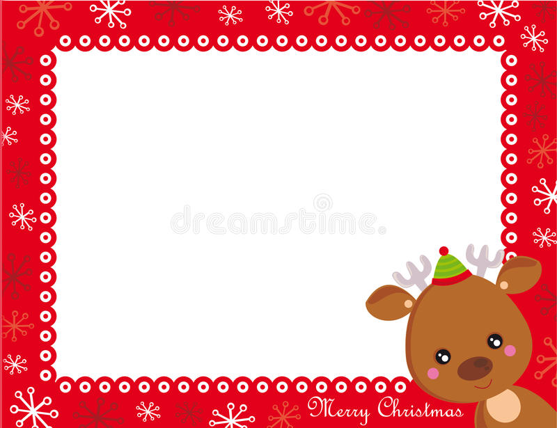 Christmas frame. Red christmas frame with cute reindeer