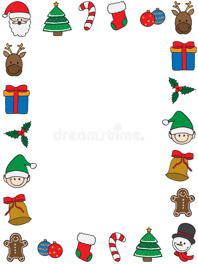 Christmas frame. Frame with christmas symbols on white background vector illustration
