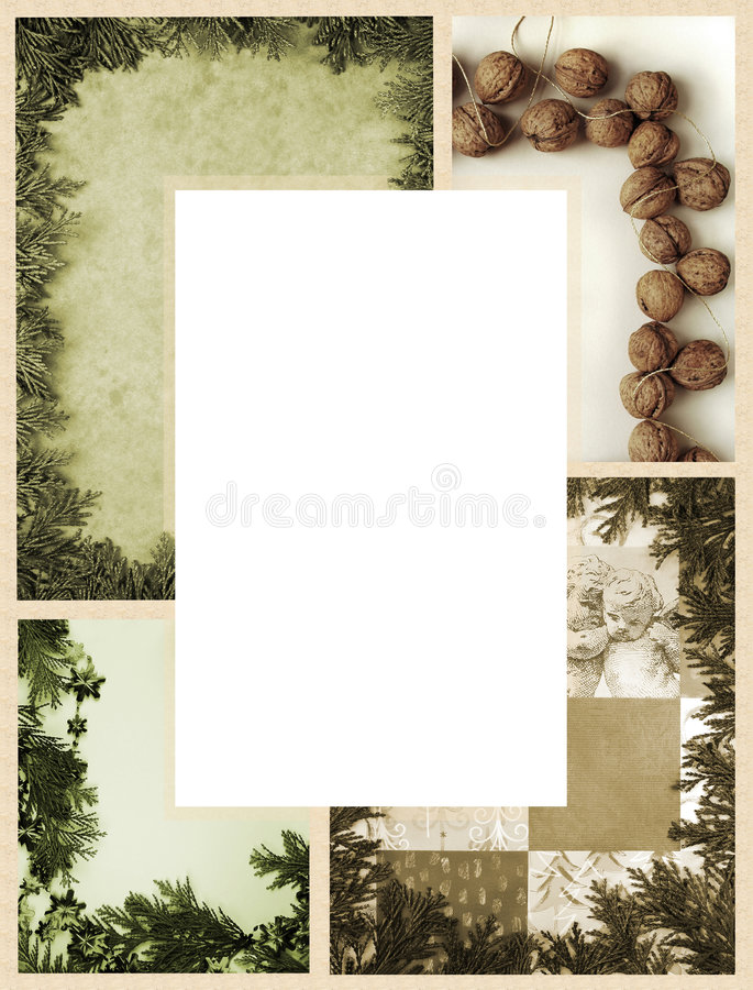 Christmas frame. Christmas photocomposition as frame in vintage style royalty free illustration