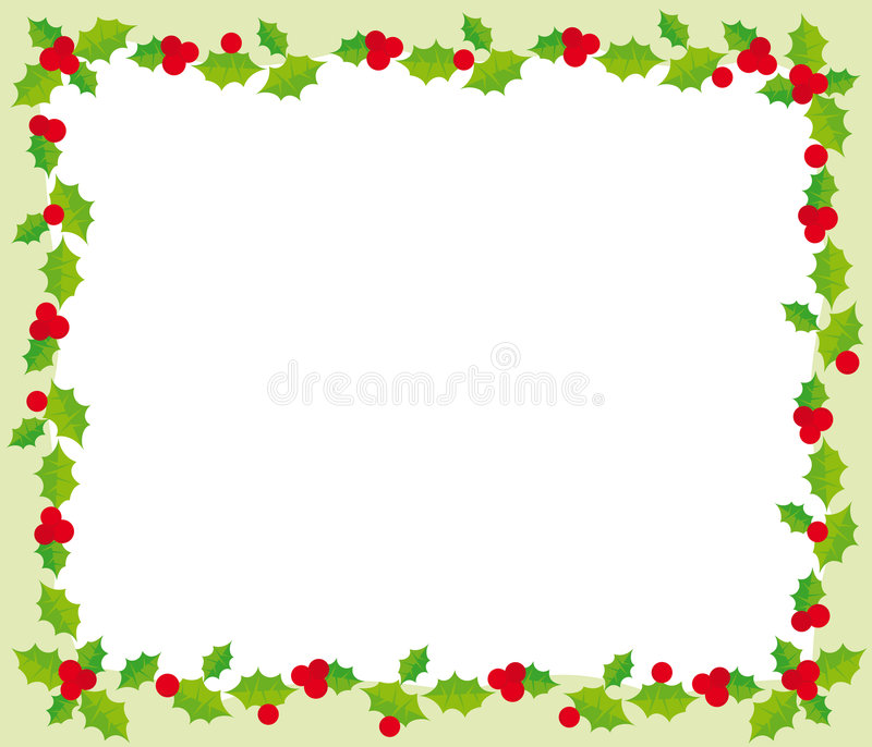Christmas frame. Illustration of christmas frame with holly on green background