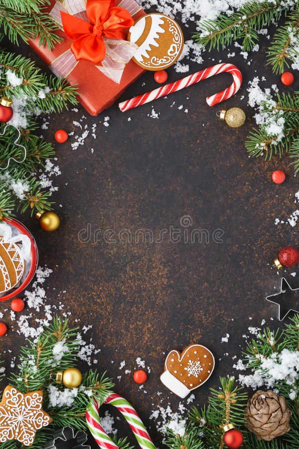 Christmas frame background with copyspace. Winter holidays sale. Christmas frame background with copy space. Winter holidays sale concept with snow, candy canes stock photo