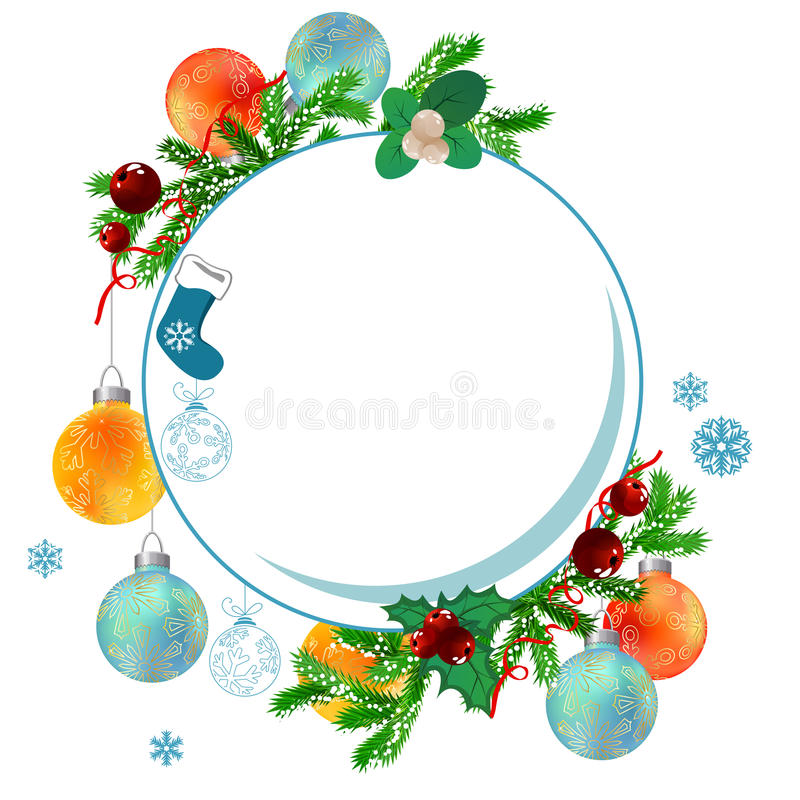Christmas frame with balls and fir branches vector illustration