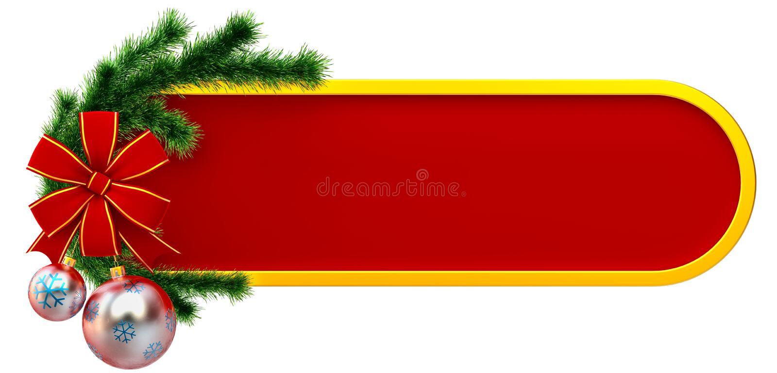 Christmas frame with balls and red bow royalty free illustration