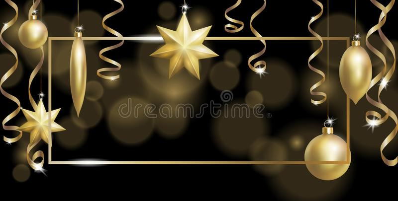 Christmas Frame Banner Template. Ball Fir Toys star golden silver sparkle serpentine streamer. New Year tree decoration stock illustration