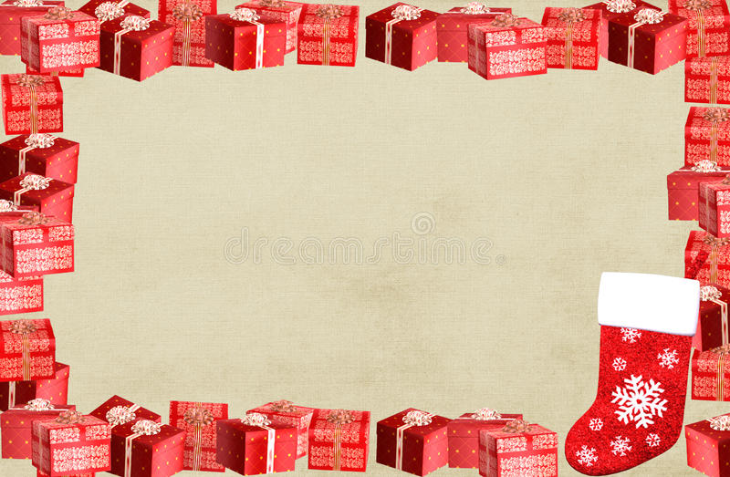 Christmas frame border with present boxes royalty free illustration