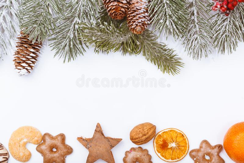 Christmas nature and food frame border on white royalty free stock image