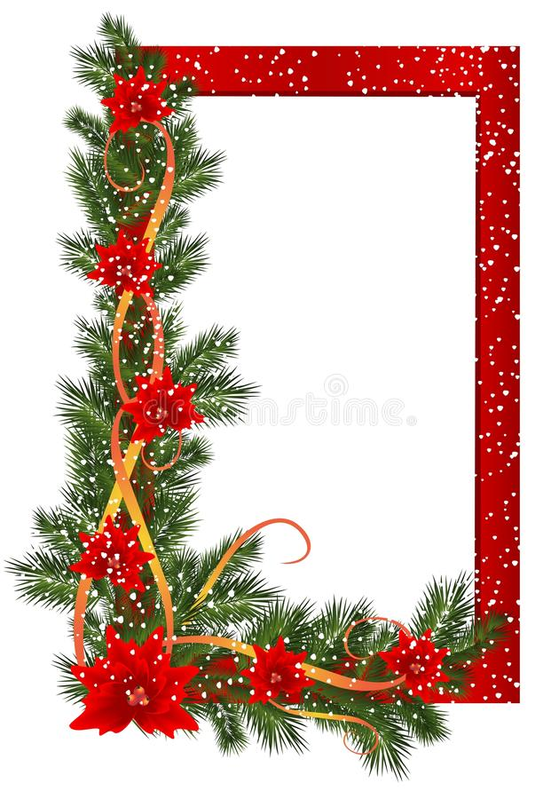 Christmas frame, cdr vector. Red christmas frame with fir branches, poinsettia, ribbons and snowflakes, vector format royalty free illustration