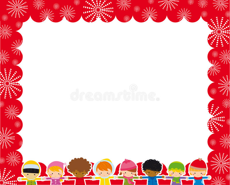Christmas frame with children stock illustration