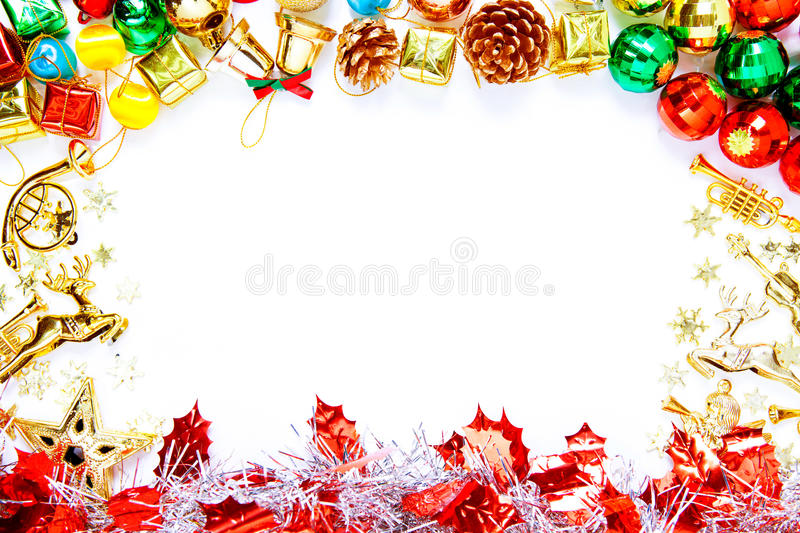 Christmas frame with Christmas ornaments and decorations and cop. Y space for text royalty free stock photo