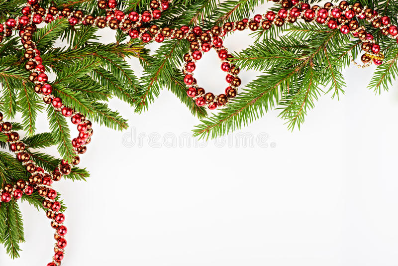 Download Christmas Frame With Conifer And Red Garland Stock Image - Image: 27143507