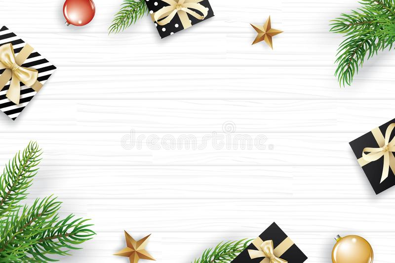 Christmas frame with copy space for text on white wooden background. Vector illustration decoration with fir branches and gift. U. Se for greeting card, banner royalty free illustration