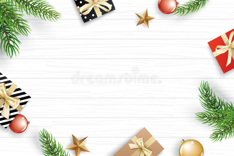 Christmas frame with copy space for text on white wooden background. Vector illustration decoration with fir branches and gift. U. Se for greeting card, banner stock illustration