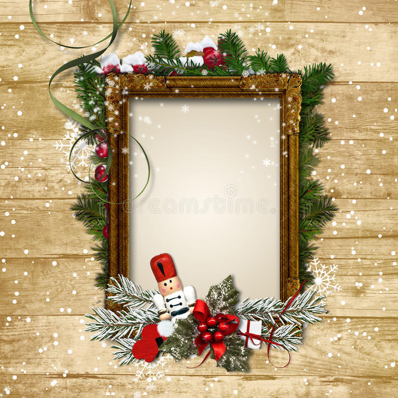 Christmas frame with the decor and the Nutcracker on a wooden ba stock illustration